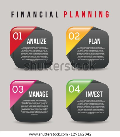 financial planning illustration over gray background. vector - stock vector