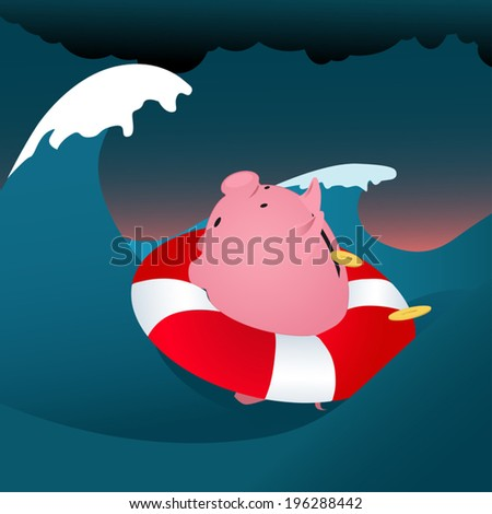 Financial problems. Piggy bank drowning in the storm sea - stock vector