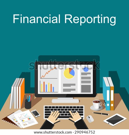 Financial reporting illustration. Flat design illustration concepts for business, finance, management, career, business strategy, business statistics, brainstorming, monitoring.   - stock vector