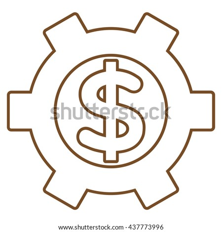 Financial Settings vector icon. Style is stroke flat icon symbol, brown color, white background.