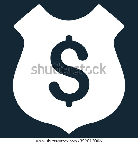 Financial Shield vector icon. Style is flat symbol, white color, rounded angles, dark blue background. - stock vector