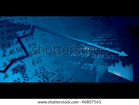 Financial stock market background with world map figures and graph - stock vector