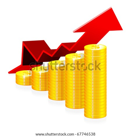 Financial success concept vector illustration isolated on white background - stock vector