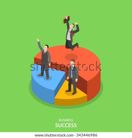 Financial success isometric flat vector concept. Happy businessmen are standing on their own pie chart section depending of their financial performance. - stock vector