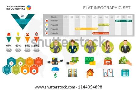 financial timeline percentage chart template presentation stock