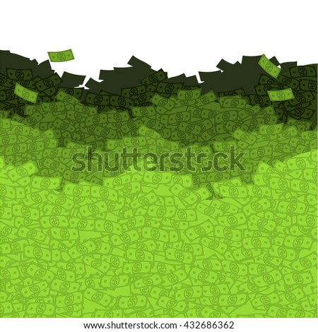 Financial waves. Ocean money. Sea of â??â??cash. Mount dollars. Wealth. Luxury and wealth. Flow of dollars. Cash flow. Heaps of money - stock vector