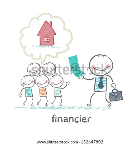 financier gives money to people to build a house - stock vector