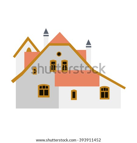 Finca Polenovo, Artist Vasily Polenov in the town Tula in Russian Federation, local landmark. Isolated on white background.