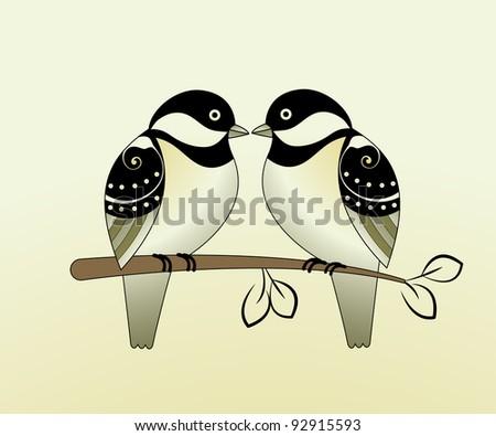 Finches - lovebirds - stock vector