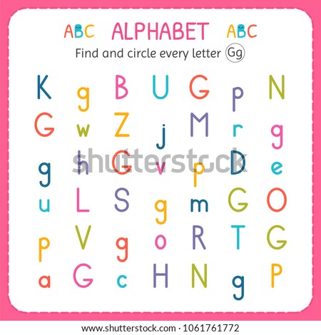 Find Circle Every Letter G Worksheet Stock Vector 1061761772