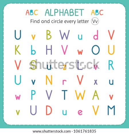 Find And Circle Every Letter V. Worksheet For Kindergarten And Preschool.  Exercises For Children
