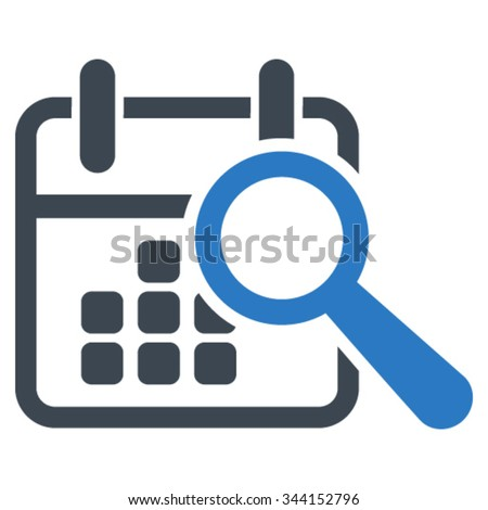 Find Date vector icon. Style is bicolor flat symbol, smooth blue colors, rounded angles, white background. - stock vector