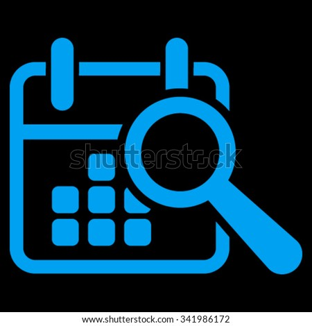 Find Date vector icon. Style is flat symbol, blue color, rounded angles, black background. - stock vector