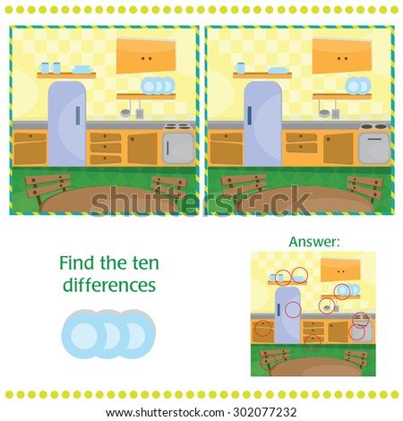 Find differences between the two images - Kitchen - stock vector
