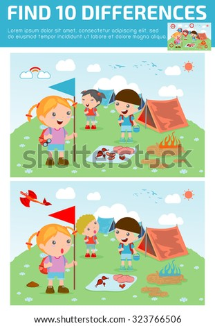 find differences,Game for kids ,find differences,Brain games, children game, Educational Game for Preschool Children, Vector Illustration, kids summer camp, Kids on a Camping Trip. - stock vector