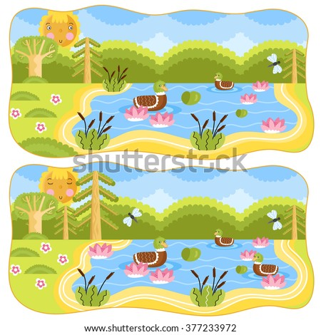 Find differences in illustration. Cartoon illustration for kids.