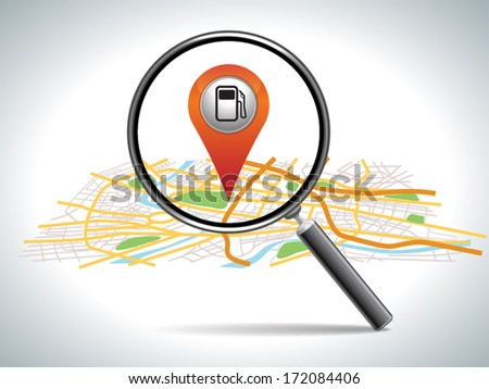 find gas station,  pin pointer on map location.  - stock vector