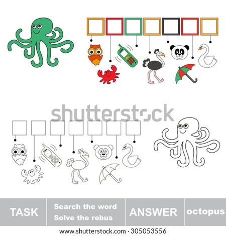 Find hidden word OCTOPUS. Rebus game for children. - stock vector