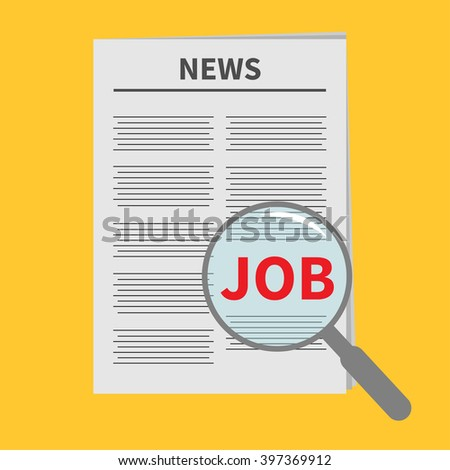 Find job Newspaper icon Optic glass instrument Magnifier Search Flat design Isolated Yellow background Vector illustration - stock vector