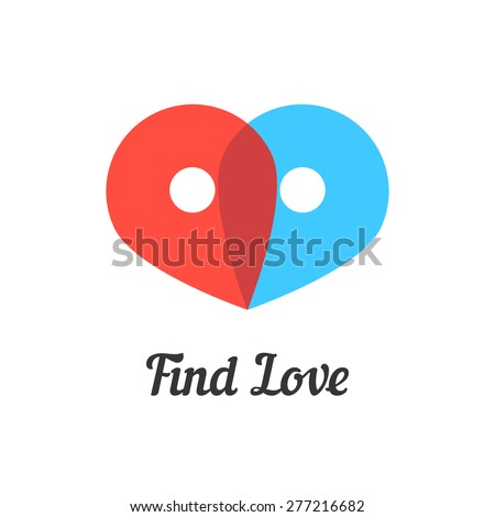 find love mark with transparent pins. concept of passion, destination, amour, metaphor, together, wedding, embrace. isolated on white background. flat style modern brand design vector illustration - stock vector