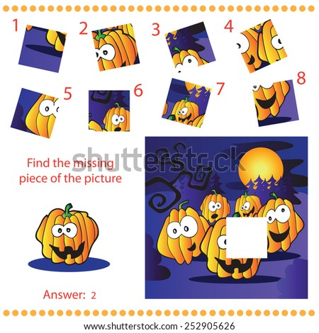 Find missing piece - Puzzle game for Children with pumpkins
