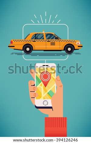 Find taxi near you. Cool vector banner template on taxi mobile application user locating or choosing closest cab on city map. Online transport network. Customer submitting trip request - stock vector