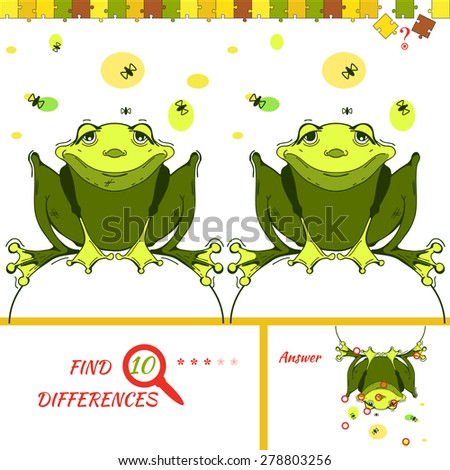 Find ten differences between the two pictures. Cartoon frog character. Colorful rebus for kid on isolated background. Wolf vector. Puzzle for kids. - stock vector