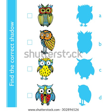 Find the correct shadow (owl). Match the pictures of cute vivid owls to their shadows.
