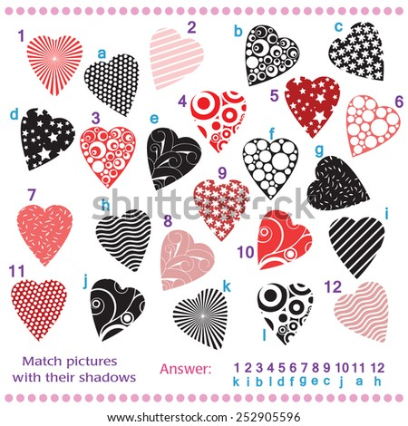 Find the shadows of pictures of vector hearts - stock vector