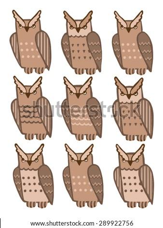 Find two of the same owl. developmental tasks - illustration - stock vector
