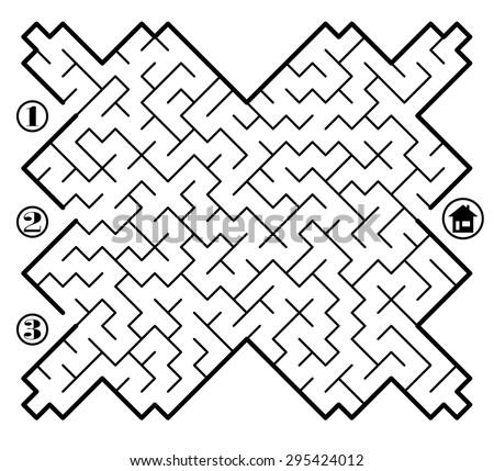 Find way across labyrinth to the home. Three entrances and only one correct path. Vector illustration on white background. - stock vector