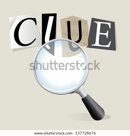 """Finding a ransom note """"clue"""" with a magnifying glass. Vector EPS 10 file. Transparencies used. - stock vector"""