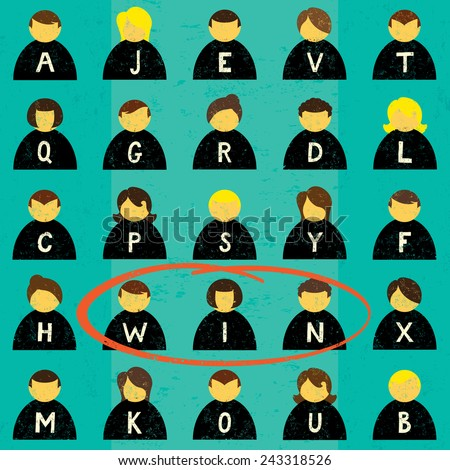 Finding a Winning Team Icons of business people in a word search format with a group of success people circled. The people and the background are on separately labeled layers. - stock vector