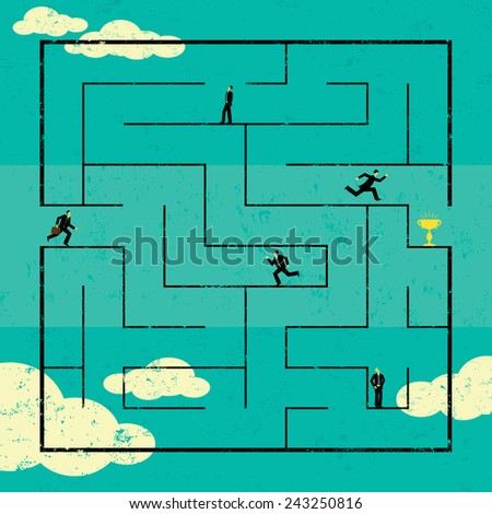 Finding the Path to Success Businessmen navigating a path to success through a maze. The men are on a separate labeled layer from the background. - stock vector