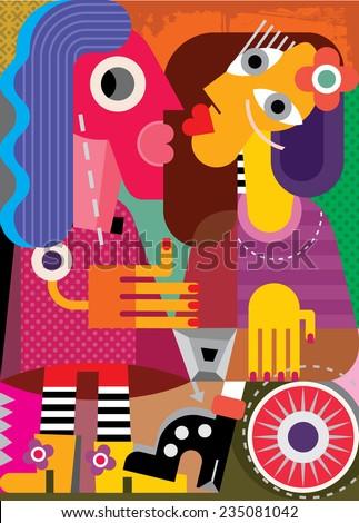 Fine art portrait of two women. Vector illustration.  - stock vector