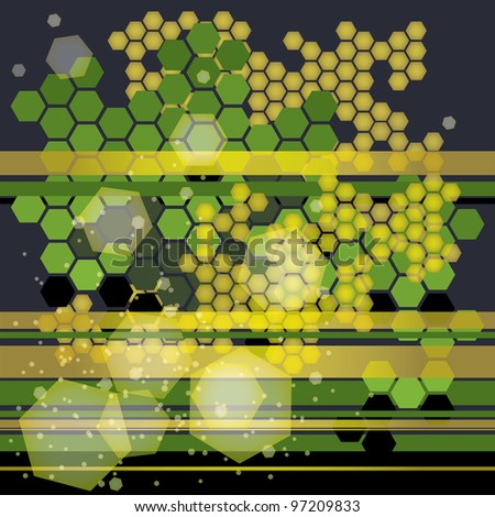 fine conceptual background with abstract green and yellow honeycombs