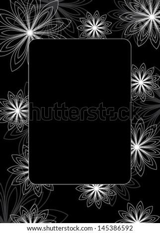 Fine decorative frame - black and white - stock vector