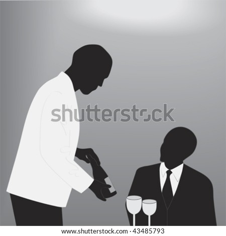 Fine Dining; grayscale vector illustration - stock vector