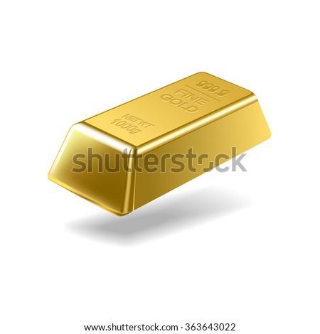 Fine gold ingot isolated on white background. Vector illustration - stock vector