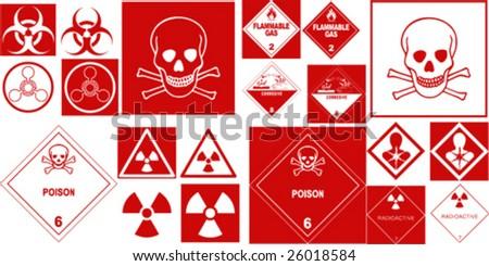 fine hazard danger vector red danger collection - stock vector