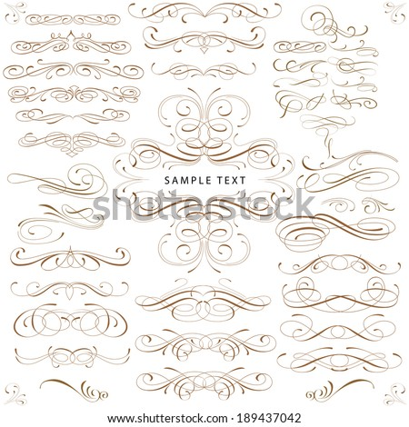 Fine line set of design elements isolated on light background  - stock vector