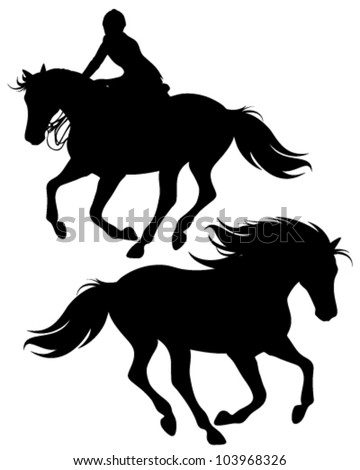 fine silhouettes of horseman riding a horse and wild stallion - stock vector
