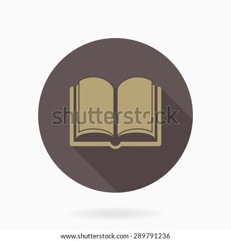 Fine vector book icon for web. Flat design and long shadow. Brown and golden colors - stock vector