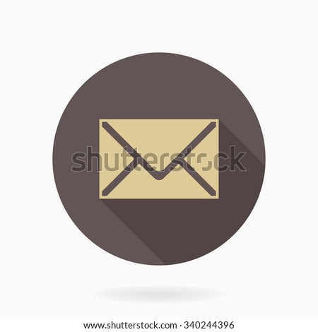 Fine vector golden mail icon in the brown circle. Flat design and long shadow - stock vector