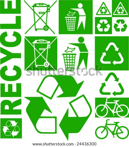Fine vector illustration of environmental eco symbols. Double version