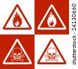 Fine vector image of flammable & danger of dead symbol. Double version - stock photo