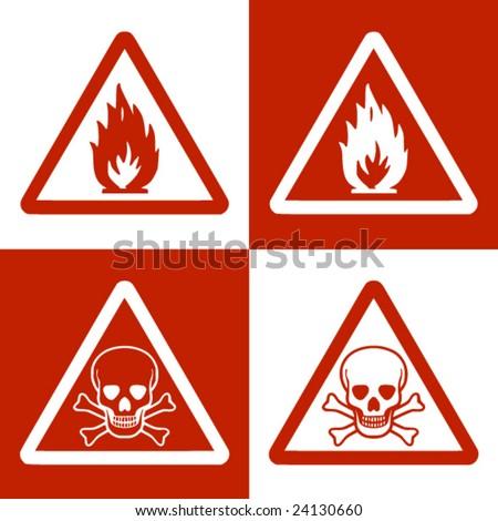 Fine vector image of flammable & danger of dead symbol. Double version - stock vector