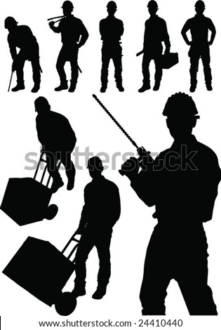 Fine vector image of man tools figure collection