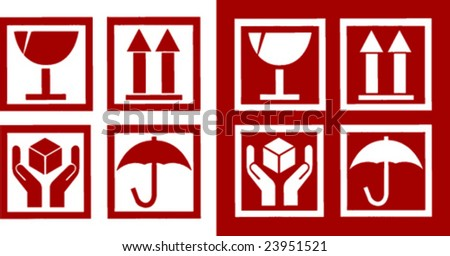 Fine vector image of red fragile symbol 03. Positive - negative version