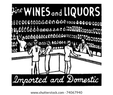Fine Wines And Liquors - Retro Ad Art Banner